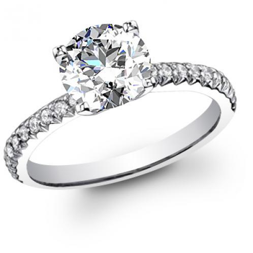 U-Prong Pave Diamond Engagement Ring