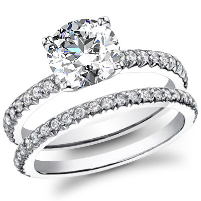 U-Pave Diamond Engagement Ring