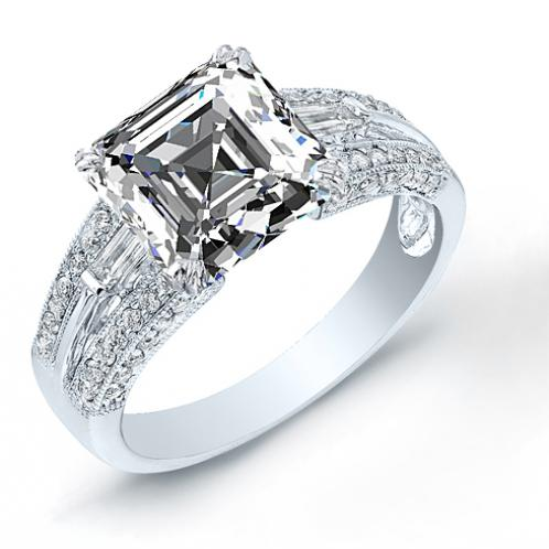 3-Sided Baguette and Round Cut Pave Diamond Engagement Ring