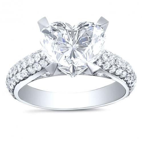 Micro-Pave Natural Diamond Engagement Ring