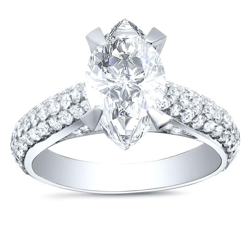 3 Row Micro Pave Natural Diamond Engagement Ring