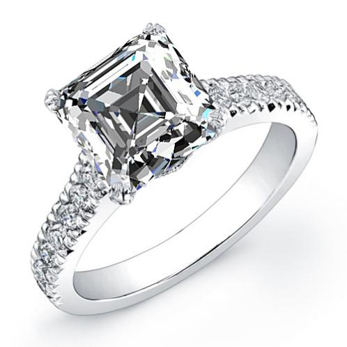 Natural Art Deco Pave Diamond Engagement Engagement Ring