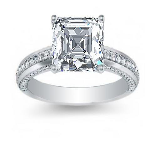 3 Side Pave Natural Diamonds Engagement Ring