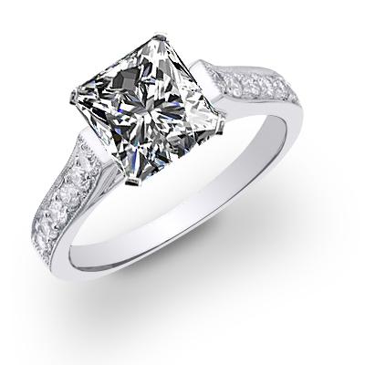 Natural Tension Set Pave Diamond Engagement Ring