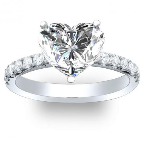 Prong Setting Natural Round Pave Engagement Ring