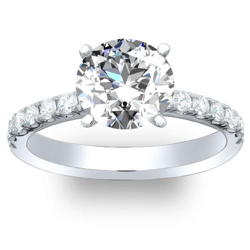 U-Pave Setting Diamond Engagement Ring