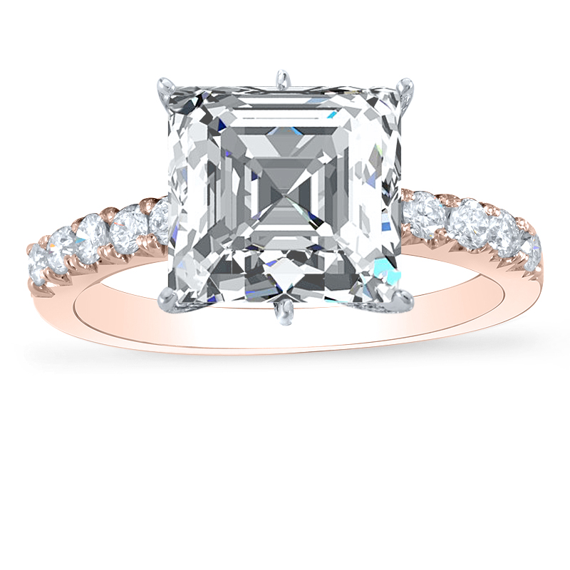 6-Prong Natural Round Pave Diamond Engagement Ring
