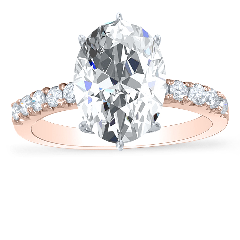 6 Prong Pave Diamond Engagement Ring