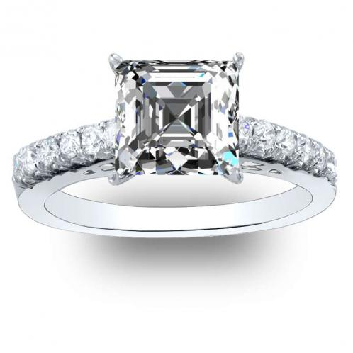 6 Prong Natural Round Pave Engagement Ring