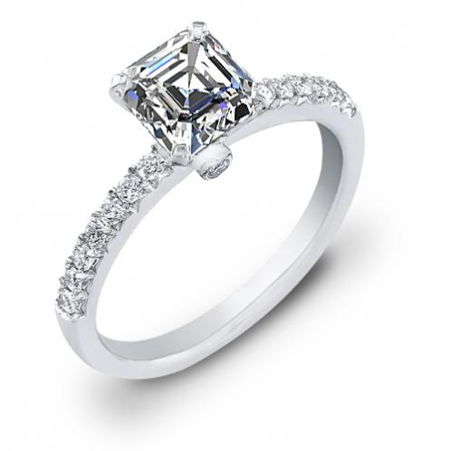Pave with Accent Diamond Engagement Ring