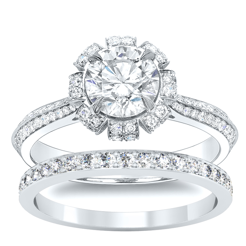 Floral Cluster Pave Natural Diamonds Engagement Ring Setting