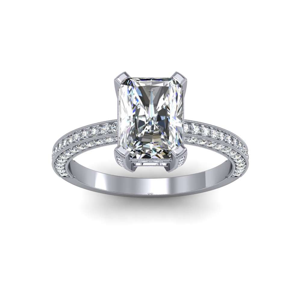 3 Sided Cathedral Shank Pave Natural Diamonds Engagement Ring