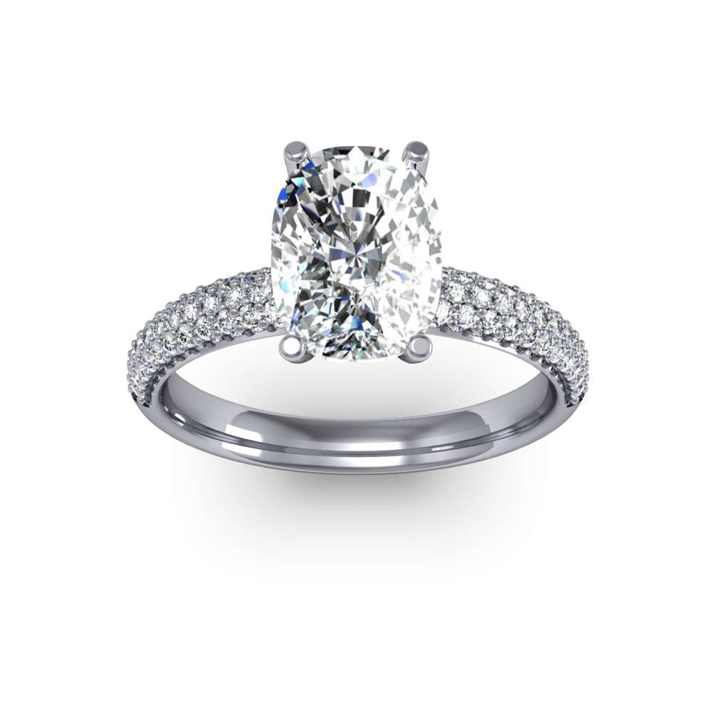 Classic Round Shank Pave Natural Diamonds Engagement Ring