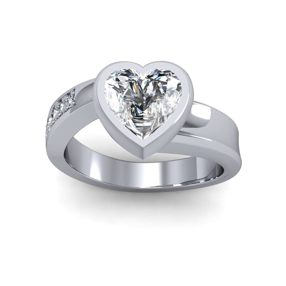 Bezel Setting Crossover Shank Pave Natural Diamonds Engagement Ring