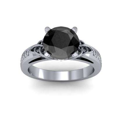 Trellis Black Diamond Engagement Rings