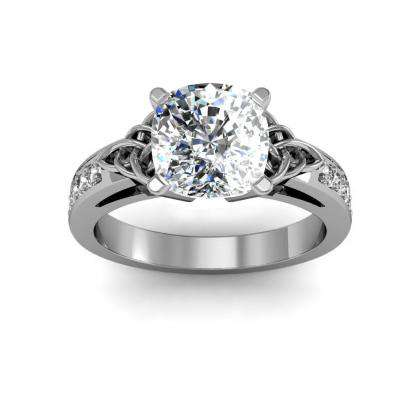 Trellis Cushion cut Engagement Rings
