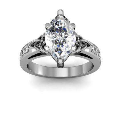 1 42ct Natural Diamond Marquise Cut Celtic Knot Design Pave Diamonds Engagement Ring 14k White Gold Gia