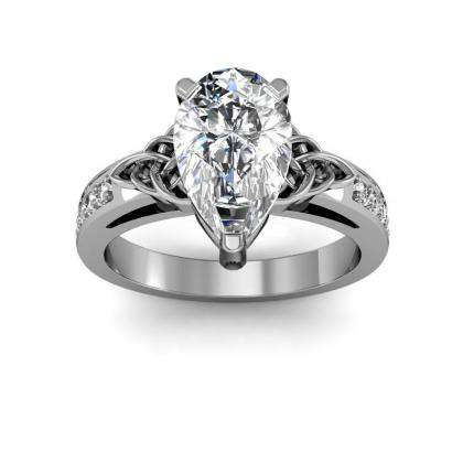 Art Nouveau Pear cut Engagement Rings