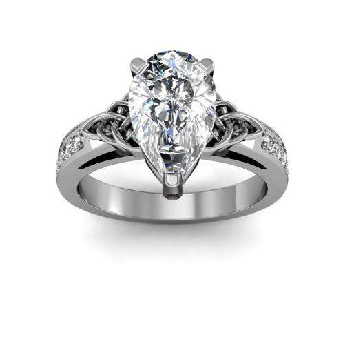 Celtic Knot Design Pave Natural Diamonds Engagement Ring