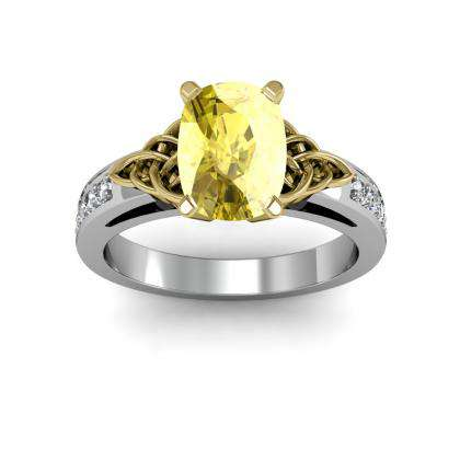 Art Nouveau Yellow Diamond Engagement Rings