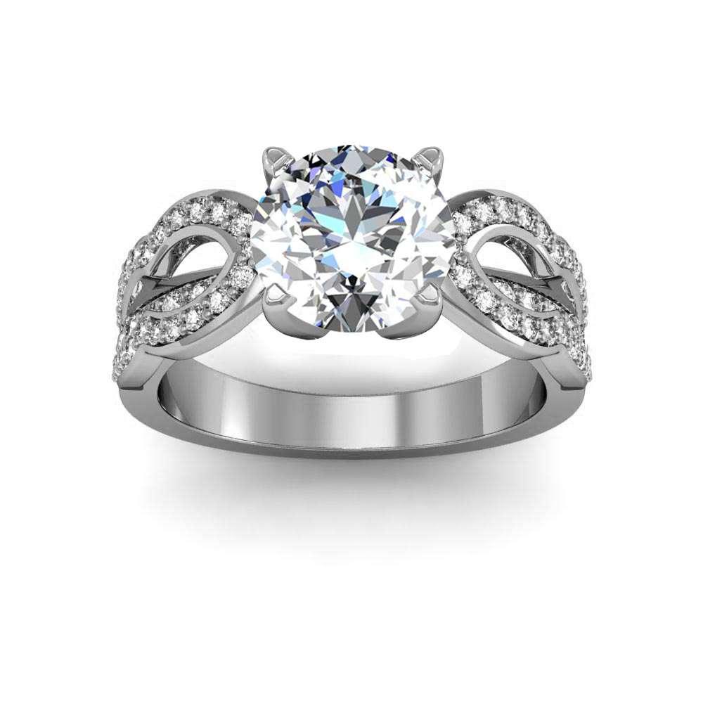 Split Shank Design Pave Natural Diamonds Engagement Ring