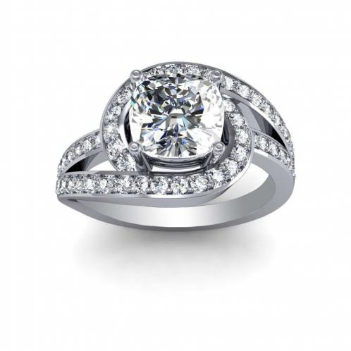 Decorative Bypass Pave Natural Diamonds Engagement Ring