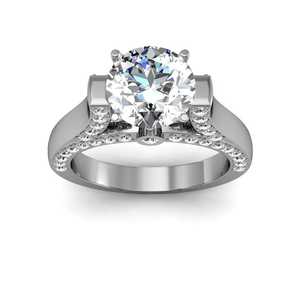Tension Setting with Accent Pave Natural Diamonds Engagement Ring