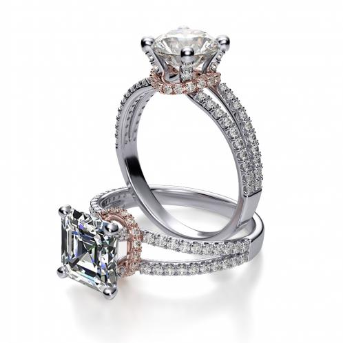 Under Halo Pave Split Shank Diamond Engagement Ring