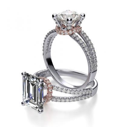 emerald cut split shank engagement rings