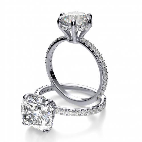Under Halo U Prong Pave Diamond Engagement Ring