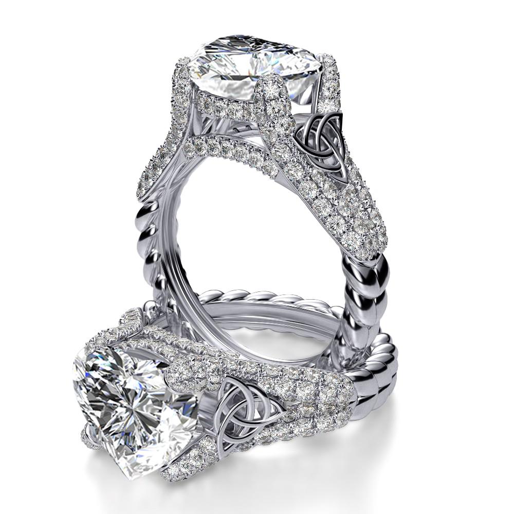 Engagement Rings Knot: 2.3ct. Heart Shape Natural Diamond Celtic Knot Pave Split
