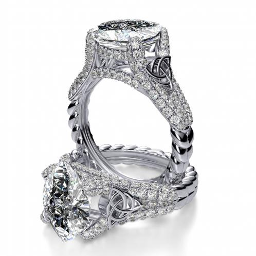 Celtic Knot Pave Split Shank Rope Design Engagement Ring