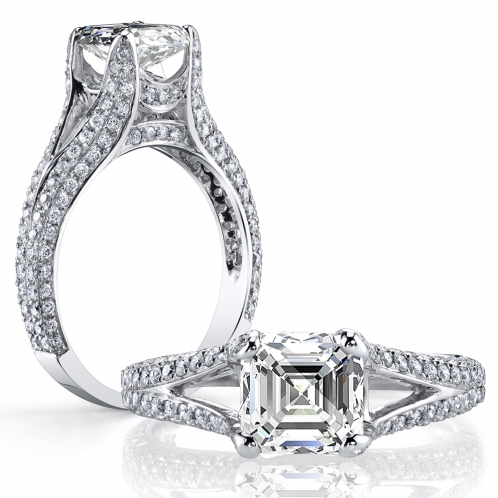 Micro Pave Split Shank Diamond Engagement Ring