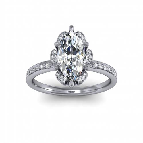 Floral Cluster Halo Pave Natural Diamonds Engagement Ring Setting