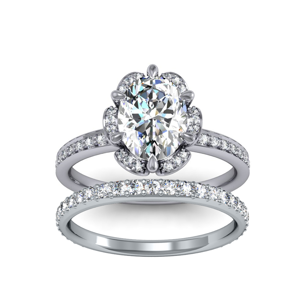 Floral Cluster Halo Pave DiamondEngagement Ring