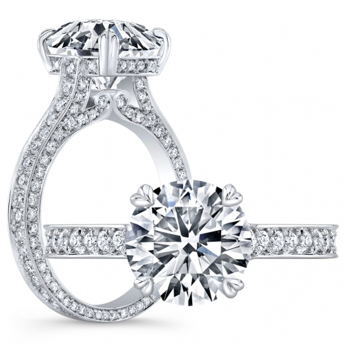 Vintage 3 Sided Micro Pave Diamond Engagement Ring
