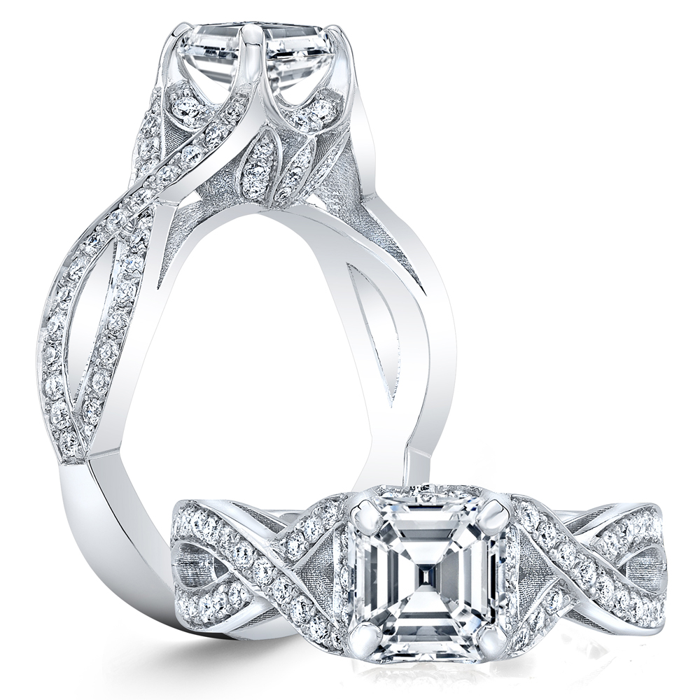 Vintage Design Twisted Pave Diamond Engagement Ring
