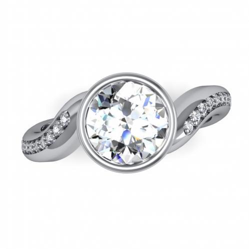 Bezel Assymmetrical Sculptural Diamond Engagement Ring