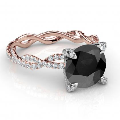 Split Shank Black Diamond Engagement Rings