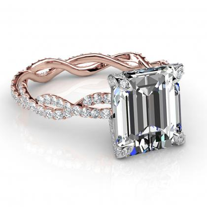 Emerald cut Split Shank Engagement Rings