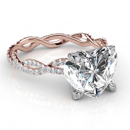 Eternity Heart Shape Engagement Rings