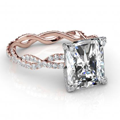 Radiant cut Split Shank Engagement Rings