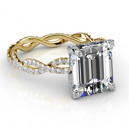2.20ct. natural diamond emerald cut twisted eternity pave diamond  engagement ring 14k yellow gold gia