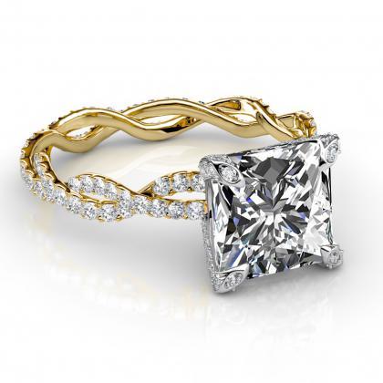 yellow gold princess cut engagement rings