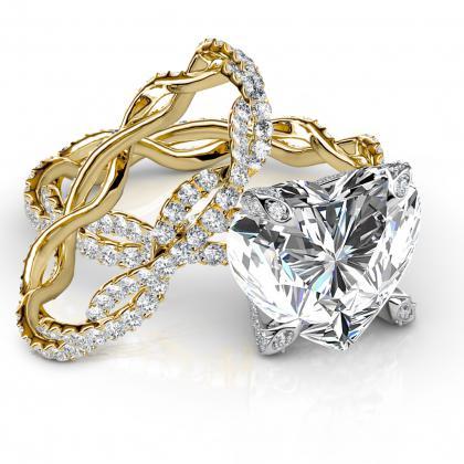 heart shape bridal wedduing ring sets