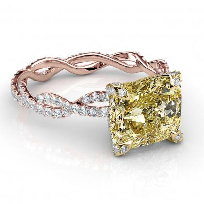 Micro Pave Yellow Diamond Engagement Rings