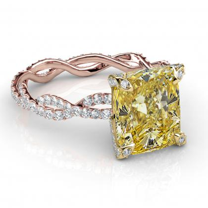 Radiant Cut Split Shank Yellow Diamond Engagement Rings