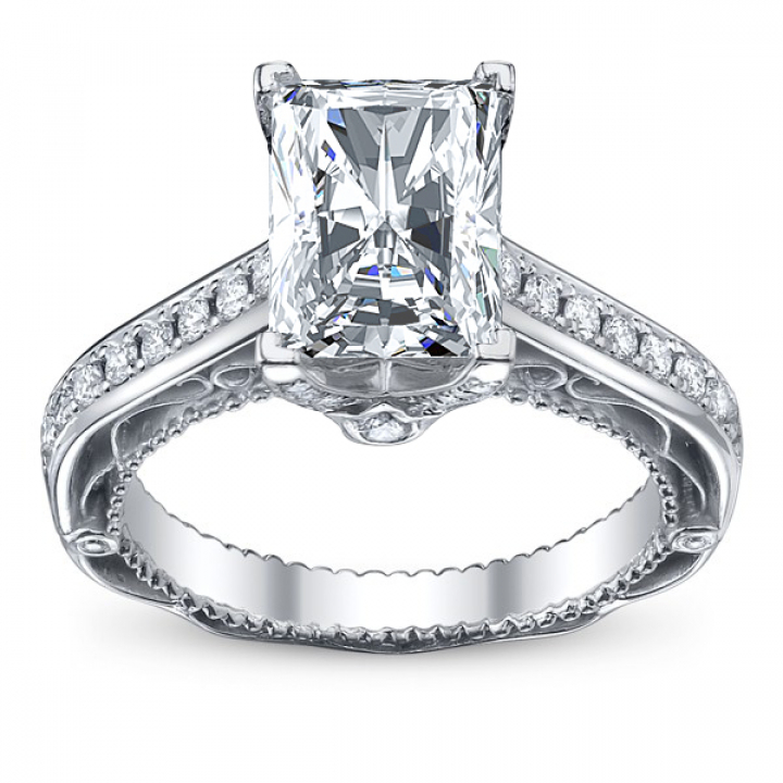 Hand Engraved Radiant cut Engagement Rings