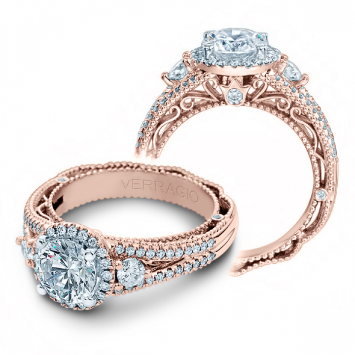 Hand Engraved Rose Gold Engagement Rings