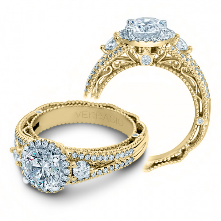Hand Engraved Yellow Gold Engagement Rings